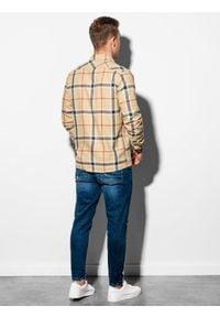 Ombre Clothing - Koszula męska w kratę z długim rękawem K564 - żółta - XXL. Kolor: żółty. Materiał: bawełna, poliester. Długość rękawa: długi rękaw. Długość: długie