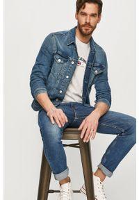 Niebieska kurtka Tommy Jeans casualowa, bez kaptura, na co dzień