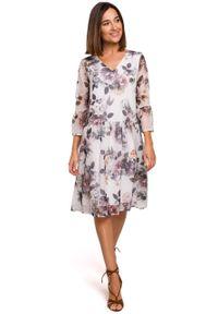 e-margeritka - Sukienka szyfonowa w kwiaty - 2xl. Materiał: szyfon. Wzór: kwiaty. Sezon: lato, wiosna. Długość: midi