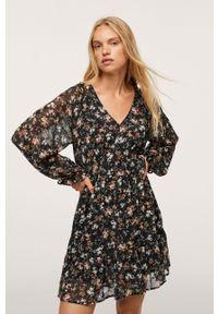 mango - Mango - Sukienka Toscana. Kolor: czarny. Materiał: włókno. Długość rękawa: długi rękaw. Typ sukienki: rozkloszowane