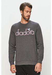 Diadora - Bluza bawełniana. Okazja: na co dzień. Kolor: szary. Materiał: bawełna. Wzór: aplikacja. Styl: casual