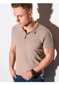 Ombre Clothing - Koszulka męska polo klasyczna bawełniana S1374 - jasnobrązowa - XXL. Typ kołnierza: polo. Kolor: brązowy. Materiał: bawełna. Wzór: haft. Styl: klasyczny