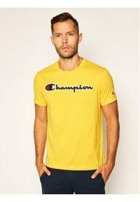 Champion T-Shirt Logo 214194 Żółty Comfort Fit. Kolor: żółty