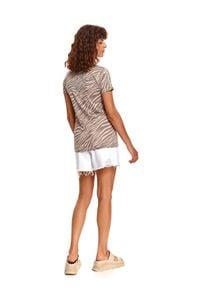 TOP SECRET - T-shirt damski w nadruk w zebrę. Kolor: szary. Wzór: motyw zwierzęcy, nadruk
