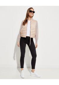 MONCLER - Beżowa bluza z ociepleniem. Kolor: beżowy. Materiał: puch, dzianina. Wzór: aplikacja