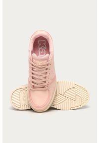 Różowe buty sportowe Kappa z okrągłym noskiem, na średnim obcasie, na sznurówki
