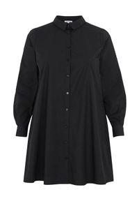 Czarna koszula Zhenzi elegancka, długa, z długim rękawem