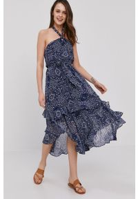 Pepe Jeans - Sukienka Ramona. Kolor: niebieski. Materiał: tkanina. Typ sukienki: asymetryczne, rozkloszowane