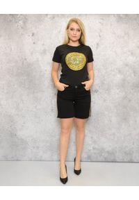 CRISTINAEFFE - Czarny T-shirt ze złotym nadrukiem. Okazja: na co dzień. Kolor: czarny. Materiał: bawełna. Wzór: nadruk. Styl: casual
