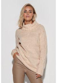 Beżowy sweter Makadamia z golfem