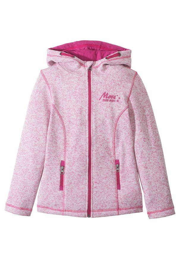Kurtka dziewczęca z ciepłego polaru bonprix różowy flaming - biel wełny melanż. Kolor: różowy. Materiał: polar, wełna. Wzór: melanż