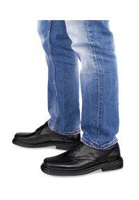 ESCOTT - Półbuty męskie Escott 765 Czarne. Zapięcie: sznurówki. Kolor: czarny. Materiał: tworzywo sztuczne, skóra. Obcas: na obcasie. Styl: elegancki. Wysokość obcasa: średni