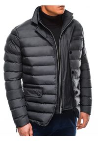 Szara kurtka Ombre Clothing na zimę, ze stójką