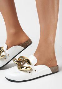 Born2be - Białe Klapki Kaviell. Nosek buta: okrągły. Kolor: biały. Styl: elegancki