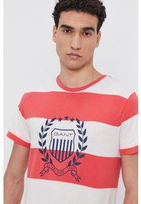 GANT - Gant - T-shirt bawełniany. Okazja: na co dzień. Kolor: różowy. Materiał: bawełna. Styl: casual