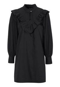 Czarna sukienka mini Happy Holly z długim rękawem, ze stójką, elegancka