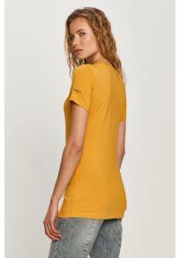 Pomarańczowa bluzka Pepe Jeans na co dzień, casualowa, z aplikacjami
