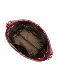 Wittchen - Torebka worek skórzana z bocznymi kieszeniami. Kolor: czerwony. Wzór: haft. Dodatki: z haftem. Materiał: skórzane. Styl: klasyczny