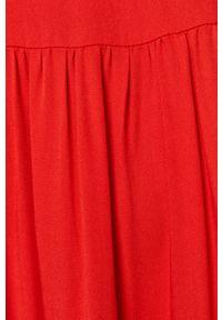 Czerwona sukienka medicine na co dzień, z okrągłym kołnierzem, casualowa, prosta