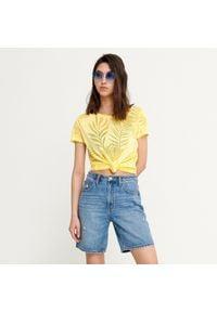 House - Koszulka z roślinnym motywem - Żółty. Kolor: żółty