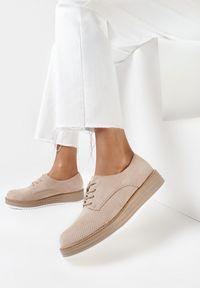 Born2be - Beżowe Półbuty Cirireisis. Nosek buta: okrągły. Kolor: beżowy. Materiał: jeans. Szerokość cholewki: normalna. Styl: elegancki