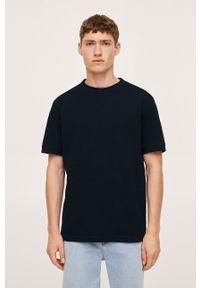 Mango Man - T-shirt Juliant. Okazja: na co dzień. Kolor: niebieski. Materiał: bawełna, materiał. Styl: casual