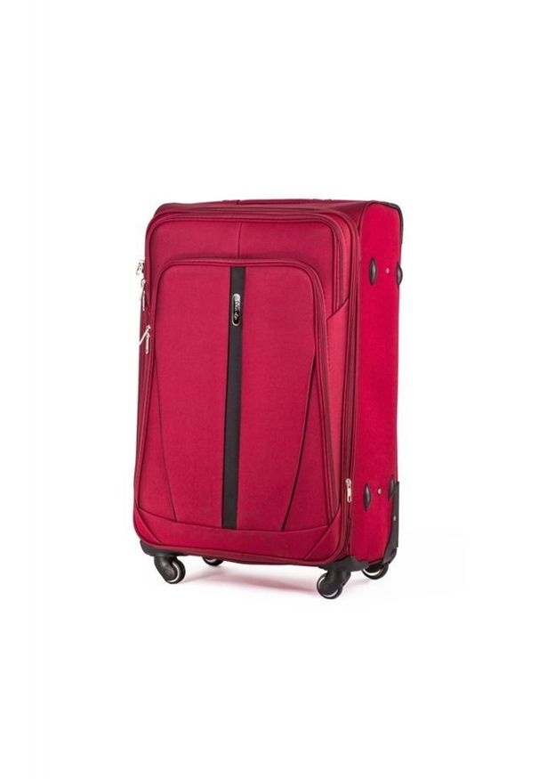 Czerwona walizka Solier w kolorowe wzory