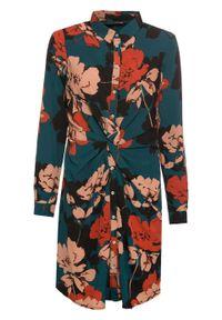 Sukienka z ozdobnym przewiązaniem bonprix niebieskozielony z nadrukiem. Kolor: niebieski. Materiał: materiał, poliester. Wzór: nadruk
