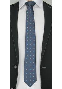 Elegancki Krawat Męski w Kwadraciki - 6,5cm- Chattier, Granatowy, Kolorowy. Kolor: niebieski. Materiał: tkanina. Wzór: grochy. Styl: elegancki