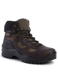 Brązowe buty trekkingowe Grisport trekkingowe, z cholewką