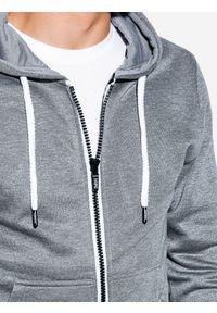 Ombre Clothing - Bluza męska rozpinana z kapturem B977 - szary melanż V - XXL. Typ kołnierza: kaptur. Kolor: szary. Materiał: bawełna, poliester. Wzór: melanż. Styl: klasyczny