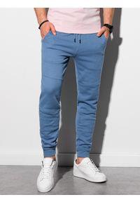 Ombre Clothing - Spodnie męskie dresowe joggery P987 - niebieskie - XXL. Kolor: niebieski. Materiał: dresówka