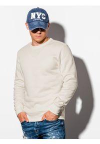 Ombre Clothing - Bluza męska bez kaptura B978 - ecru - XXL. Okazja: na co dzień. Typ kołnierza: bez kaptura. Kolor: żółty. Materiał: materiał, poliester, bawełna. Styl: klasyczny, casual