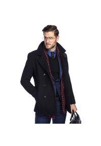 Niebieski płaszcz Giacomo Conti elegancki, krótki