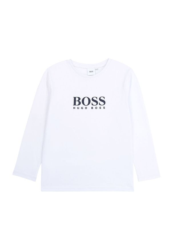 Biała koszulka z długim rękawem BOSS z okrągłym kołnierzem, z nadrukiem, na co dzień, casualowa