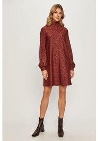 Brązowa sukienka MAX&Co. z długim rękawem, rozkloszowana, casualowa, na co dzień