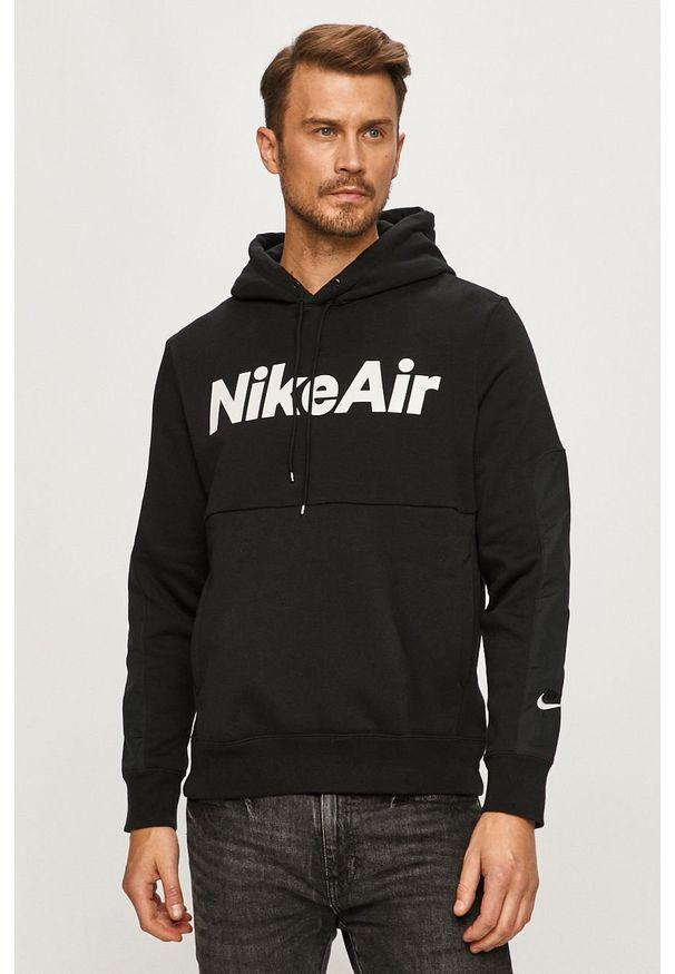 Czarna bluza nierozpinana Nike Sportswear casualowa, z kapturem, na co dzień, z nadrukiem