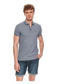 TOP SECRET - T-shirt polo męski gładki. Typ kołnierza: polo. Kolor: niebieski. Wzór: gładki
