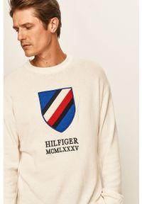 Biały sweter TOMMY HILFIGER z aplikacjami, z okrągłym kołnierzem
