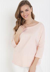 Born2be - Jasnoróżowa Bluzka Erqas. Okazja: na co dzień. Kolor: różowy. Materiał: bawełna, elastan. Styl: sportowy, elegancki, casual