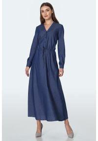 e-margeritka - Sukienka jeansowa długa - 40. Materiał: jeans. Długość rękawa: długi rękaw. Sezon: lato. Typ sukienki: proste. Styl: elegancki. Długość: maxi