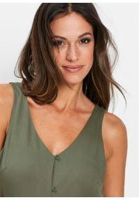Sukienka z plisą guzikową bonprix oliwkowy. Typ kołnierza: dekolt w serek. Kolor: zielony. Styl: elegancki