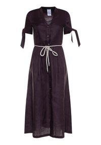 Brązowa sukienka koszulowa Pennyblack