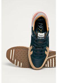 Wielokolorowe sneakersy Pepe Jeans na sznurówki, z cholewką, z okrągłym noskiem