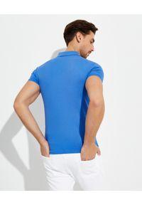 Ralph Lauren - RALPH LAUREN - Niebieska koszulka Polo Mesh Slim Fit. Typ kołnierza: polo. Kolor: niebieski. Materiał: mesh. Wzór: haft