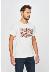 Pepe Jeans - T-shirt. Okazja: na co dzień. Kolor: beżowy. Materiał: dzianina. Wzór: nadruk. Styl: casual