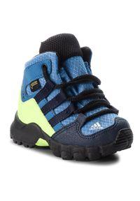 Niebieskie śniegowce Adidas z cholewką, na spacer