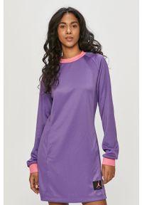 Fioletowa sukienka Jordan casualowa, gładkie, z długim rękawem, na co dzień