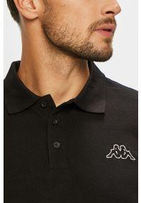 Czarna koszulka polo Kappa casualowa, krótka, na co dzień, polo