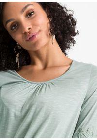 Shirt z koronką bonprix zieleń morska. Kolor: zielony. Materiał: koronka. Wzór: koronka